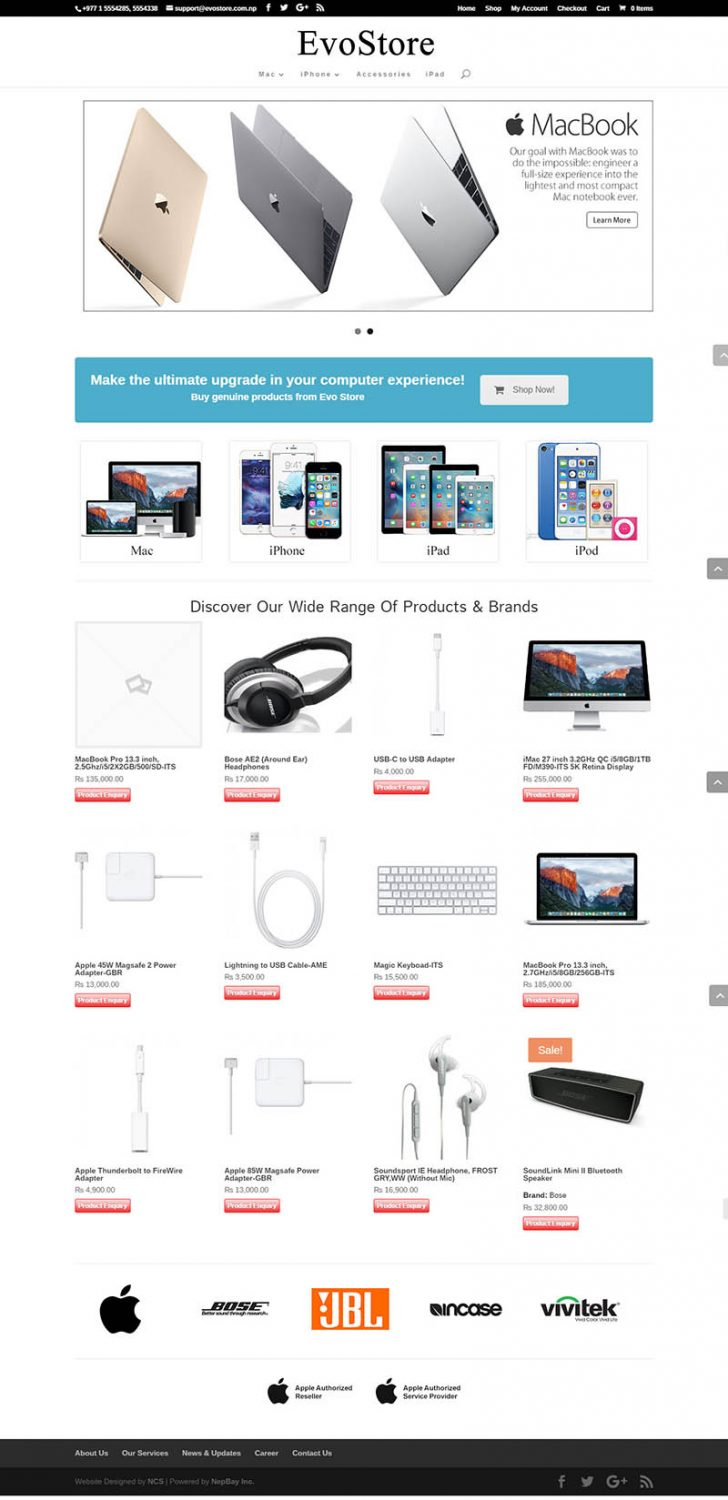 Evo Store – Electronic Brand eCommerce Website Design