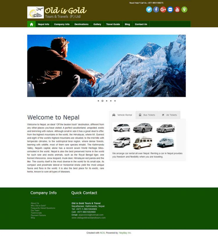 Old is Gold Travel & Tours – Tourism Website Design
