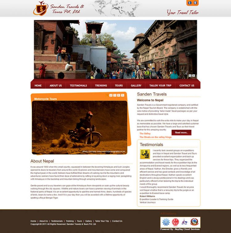 Sanden Travels – Adventure Company Website Design