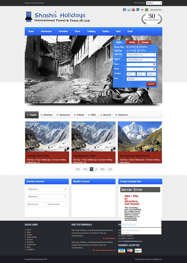 Shashis Holidays  – Travel Agency Website Design