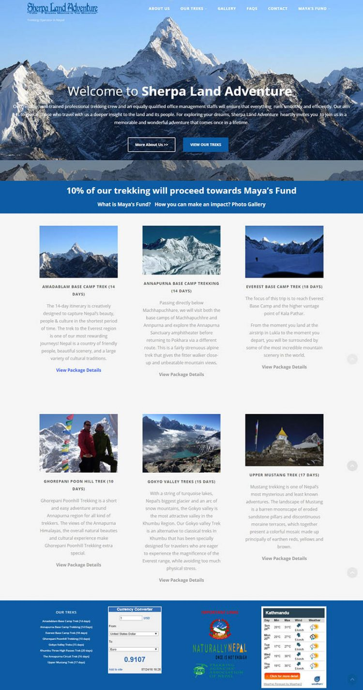 Sherpa Land Adventures – Trekking Company Website Design