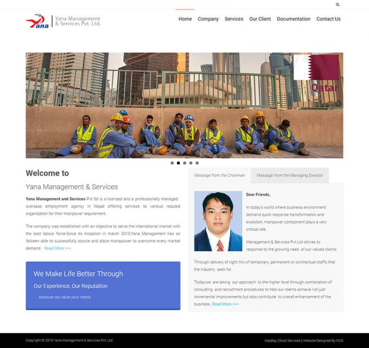 Yana Management – Manpower Company Website Design